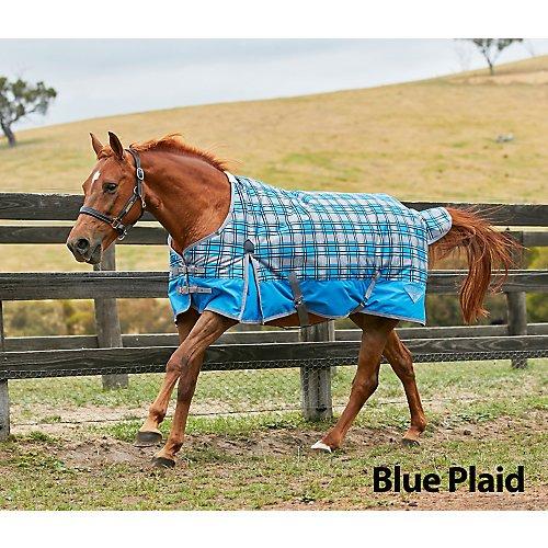 (Saxon 600D Standard Neck Lite Turnout Sheet with Gussets, Blue Plaid, Size 63)