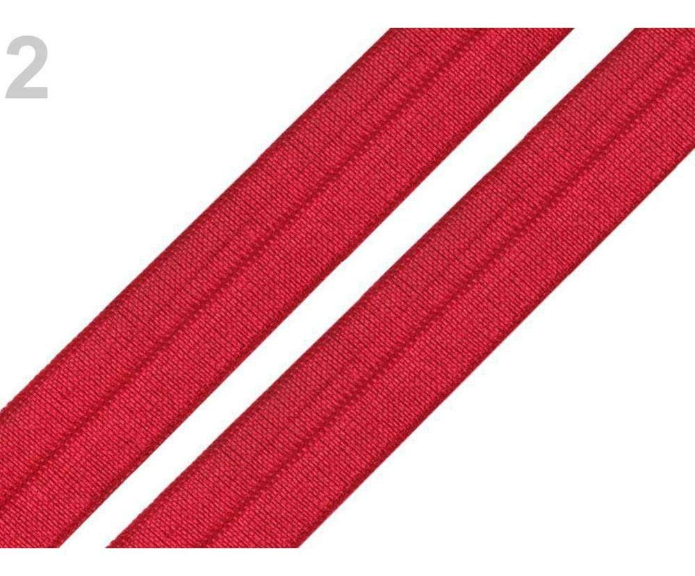 5m Red Fold Over Elastic Trim Width 18mm Haberdashery And Edge Knit
