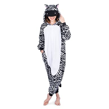Emolly Fashion Adult Zebra Animal Onesie Costume Pajamas for Adults and  Teens (Small 5fa8943ba