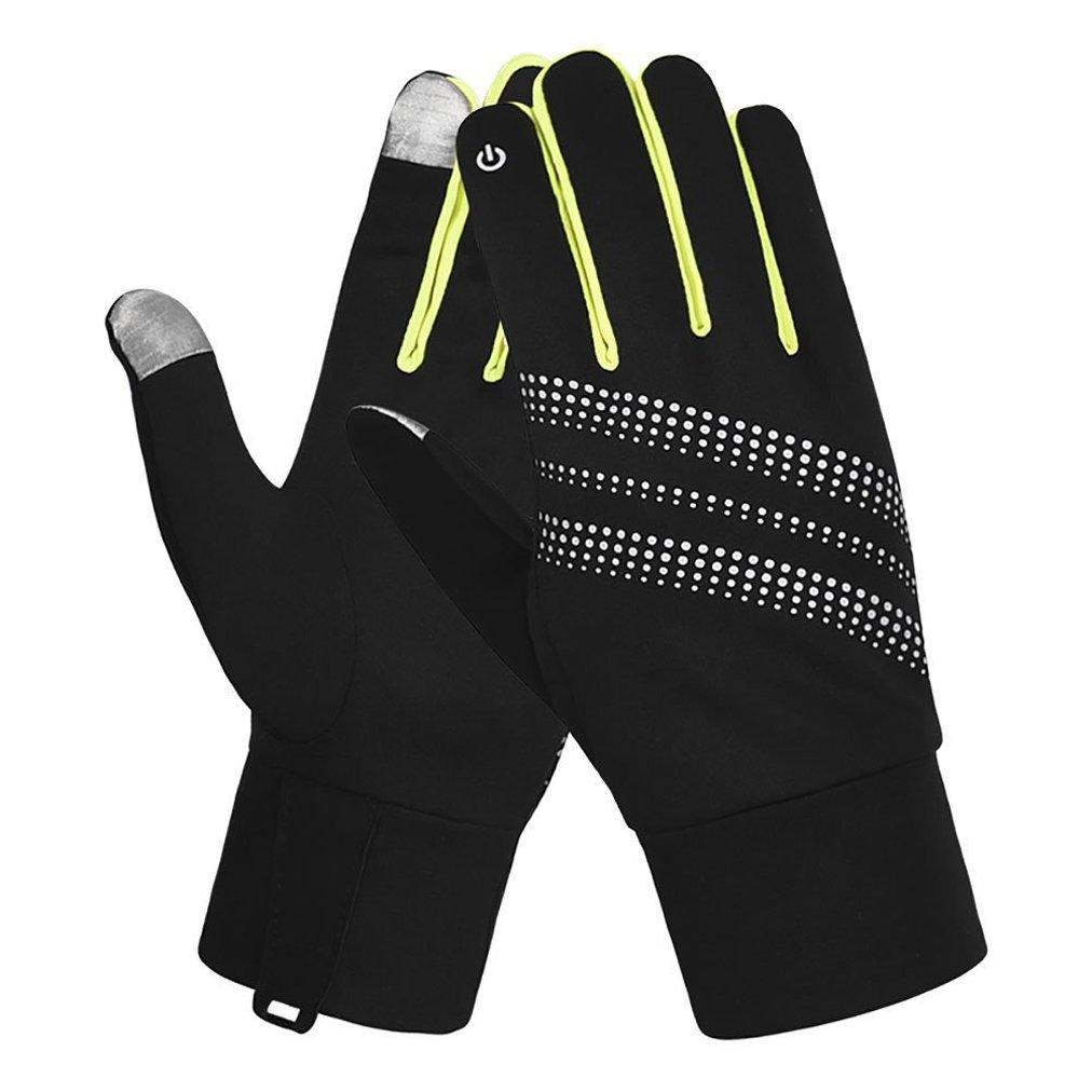 7-Mi Unisex Glove Reflective Design Winter Running Cycling Biking Gloves Touch Screen Outdoor/Indoor Sports Gloves Windproof Gloves Men Women S/M Yellow