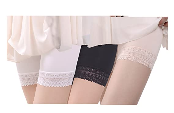 65168941d2f142 Magilona Women's Lace Ultra Thin Stretch Boxer Short Leggings Cotton Crotch  Knickers Summer Safety Under Pants