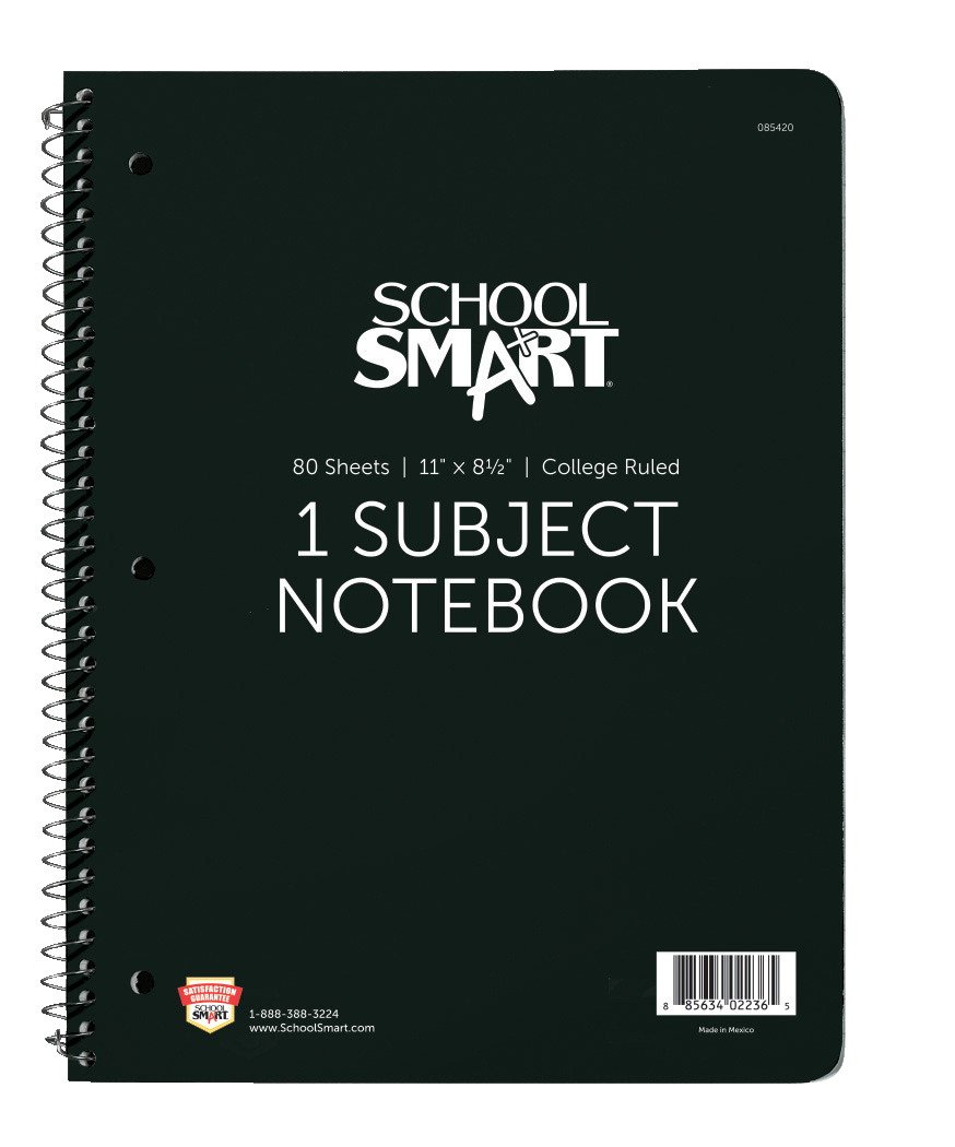 School Smart Spiral Non-Perforated 1 Subject College Ruled Notebook, 11 x 8-1/2 Inches