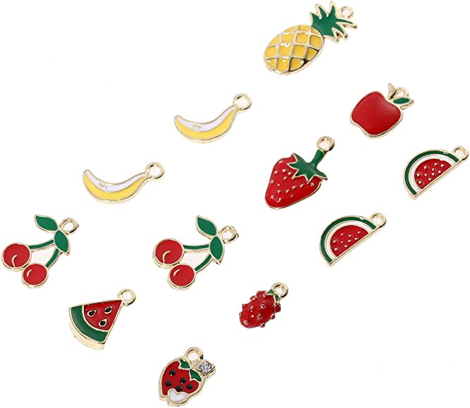 SANQIU 20PCS Enamel Banana Charm for Jewelry Making and Crafting