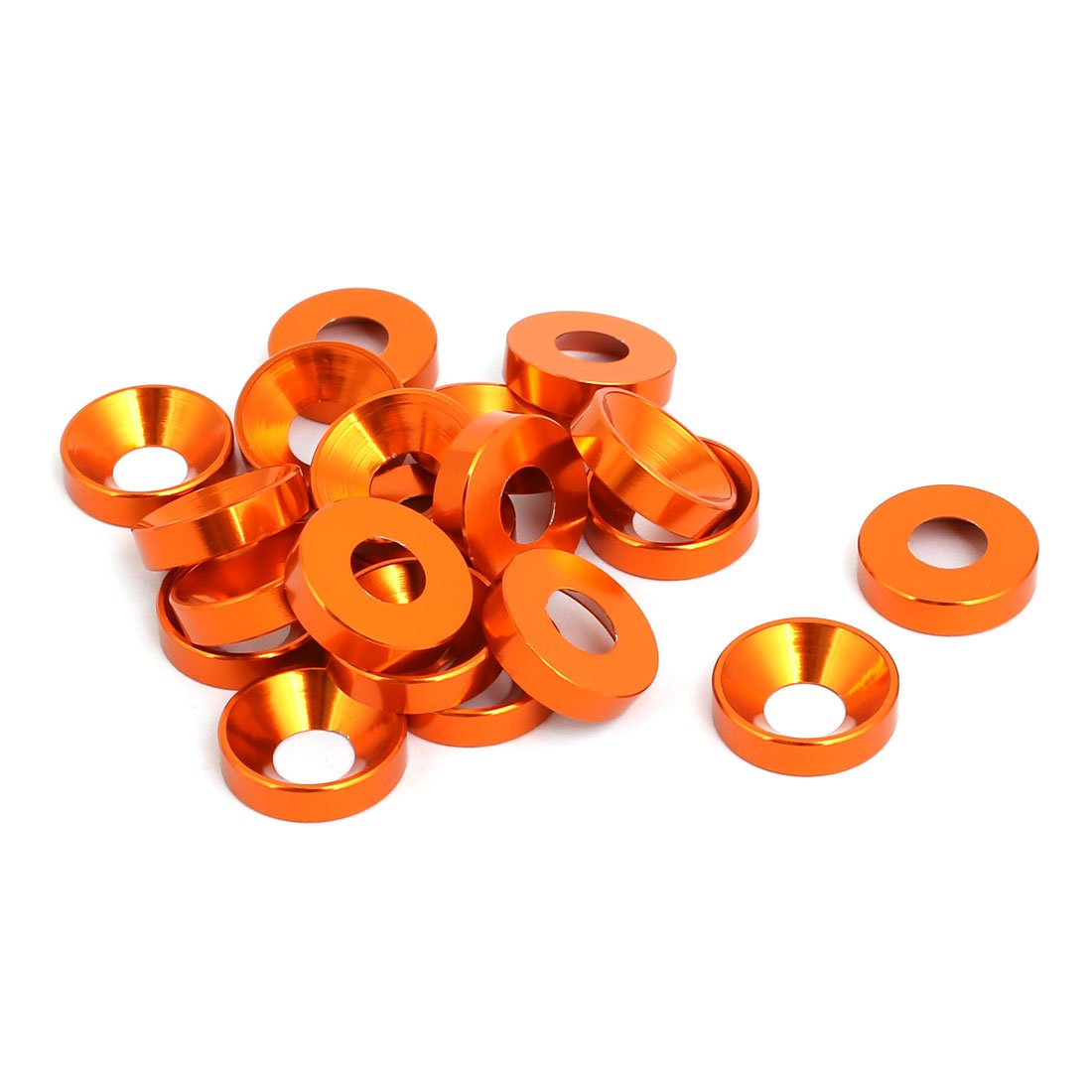 uxcell M6 Aluminium Alloy Car Bumper Trunk Fender Washer Orange 20pcs a17061600ux0908