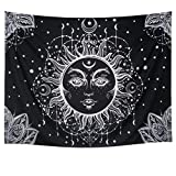 Leofanger Psychedelic Tapestry Sun and Moon Tapestry Wall Hanging Fractal Faces Hippie Wall Tapestry Black & White Celestial Tapestry Indian Hippy Bohemian Mandala Tapestry for Bedroom Decor