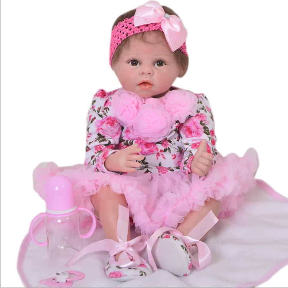 Candyana Reborn Doll 55cm Simulazione Baby Cute Big Eyes rosa Regalo di Compleanno Bambole in Silicone Partner Neonato,55cm