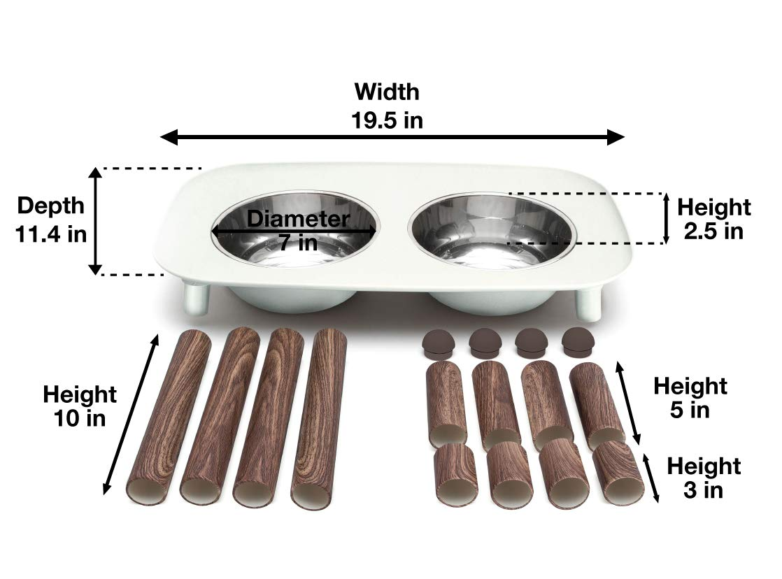 Messy Mutts Elevated Double Dog Feeder with Removable Stainless Steel Bowls and Adjustable Faux Wooden Leg Heights, 40 oz / 5 Cups per Bowl (Light Grey with Wood)