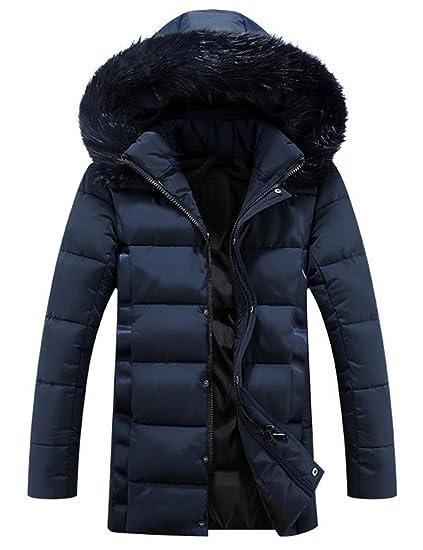 Glestore Herren Winterjacke Kapuzenjacke Baumwolle mit Pelzkragen Outdoorjacke Warm Mantel