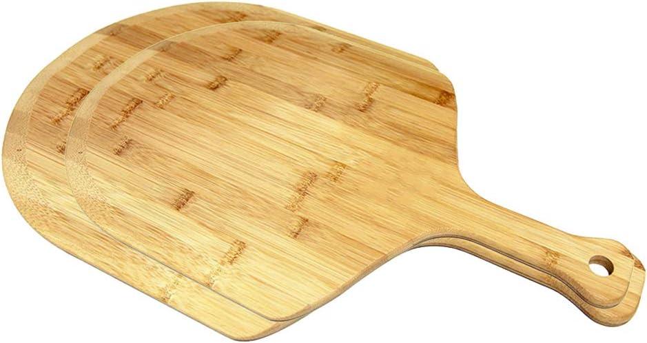 QAX - Pala de madera para pizza (2 piezas, con mango de 30,6 cm, 15 cm), diseño de paletas de pizza