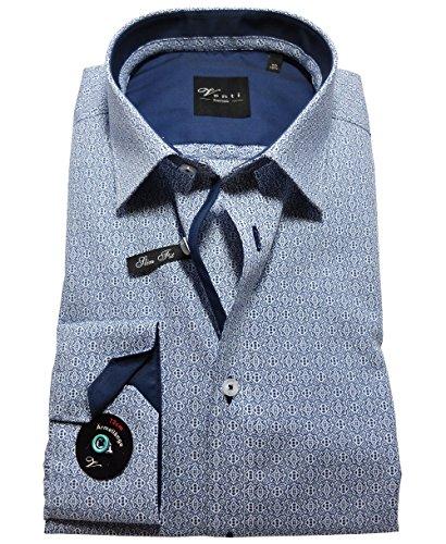 Venti Edition Slim Fit Langarmhemd blau-weiß extralanger Arm ÄL 72 cm