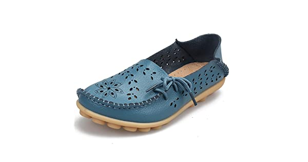 10fdeba8541 SHIBEVER Women s Leather Loafers Moccasins Wild Driving Casual Flats  Oxfords Breathable Shoes
