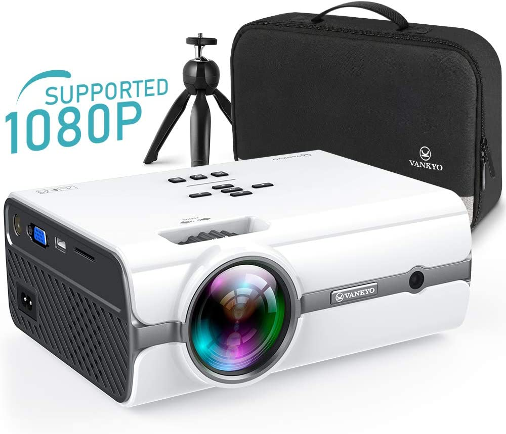 VANKYO Leisure 410 [2020 Upgraded] Mini Projector with 1080P Supported, Portable Projector with iOS/Android Connection, TV Stick, HDMI,PS4,VGA,USB for Home Entertainment & Outdoor Activities