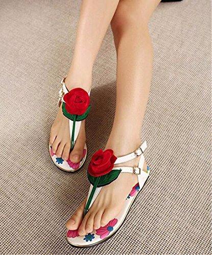 A Talons Z Chaussures Blanc Fleur Ouvert Femmes Sexy Bout Plats Flops Bretelles QIYUN Cheville Roma Chiquenaude D'Ete OqA116w
