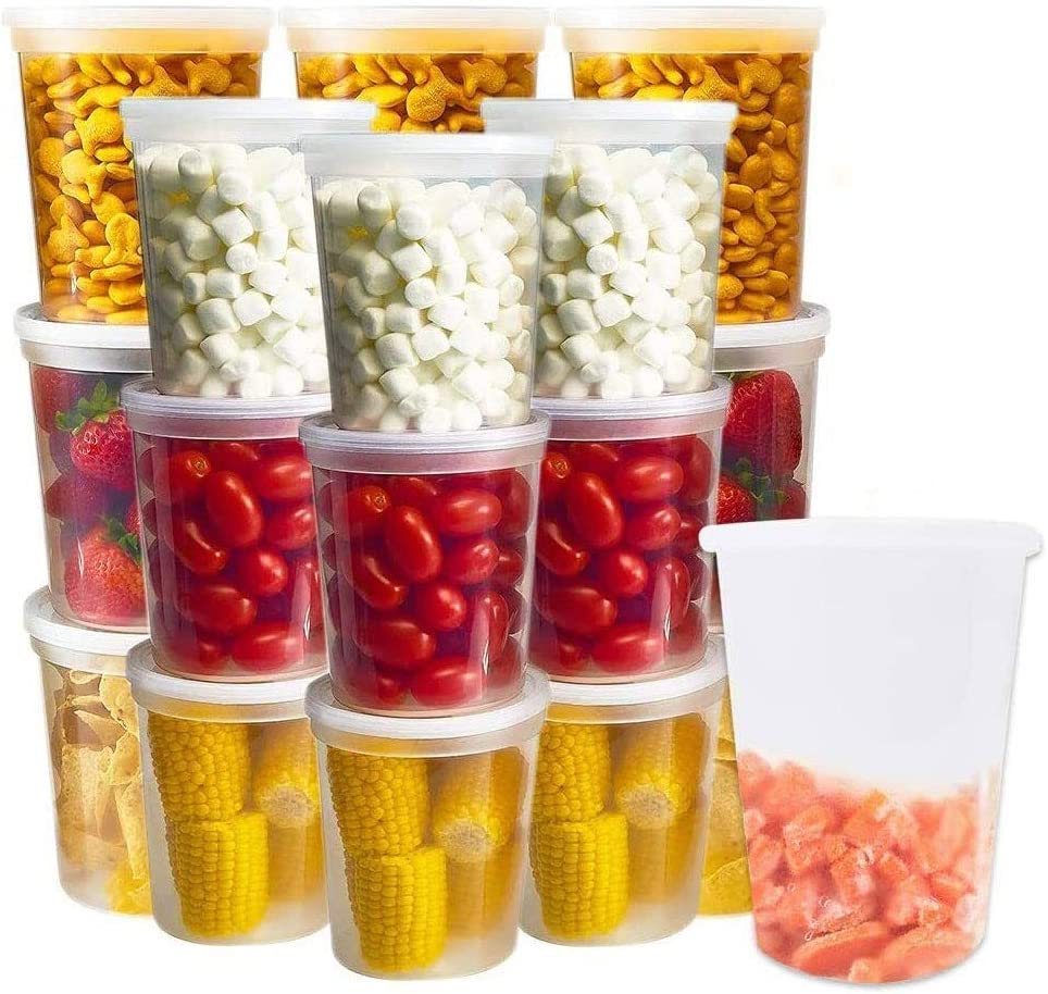 24-Pack Food Storage Containers Set 32 Oz Plastic Deli Container With Lids Soup Broth Lunch Meal Prep Prepping Plastic Reusable BPA-Free Stackable Leakproof Freezer Dishwasher Microwave Safe Clear