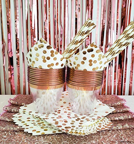 - Rose Gold Party Decorations Set for 25 Guests 78 Piece 2 Fringe Backdrop Curtains 1 Rose Gold Sequin Table Runner 25 Rose Gold Plastic Cups 25 Rose Gold Foil Dot Napkins 25 Rose Gold Stripe Straws
