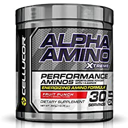 Cellucor Alpha Xtreme Amino Acids and BCAA Powder with Energy Blend, Fruit Punch, 30 Count