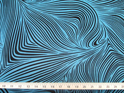 Discount Fabric Printed Lycra Spandex Stretch Abstract Zebra Turquoise and Black E200