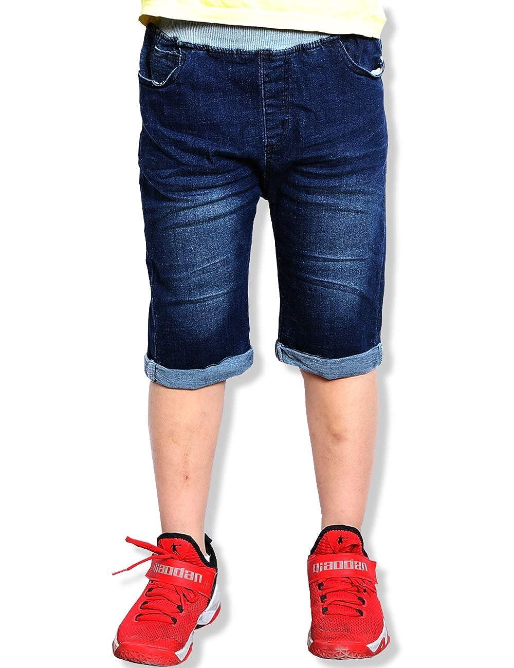 e7786d1b28 Amazon.com: WIYOSHY Boys' Dark Blue Denim Elastic Waist Pull On Knee Length Jean  Shorts: Clothing