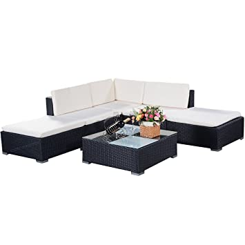Amazon.de: COSTWAY Poly Rattan Rattanmöbel Gartenmöbel Lounge Set ...