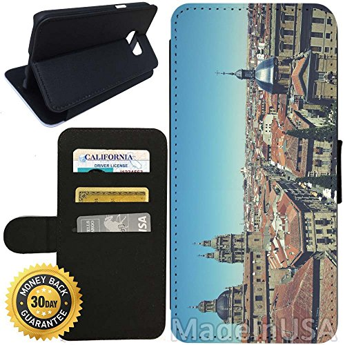 Flip Wallet Case for Galaxy S7 (Old City of Salamanca) with Adjustable Stand and 3 Card Holders | Shock Protection | Lightweight | Includes Stylus Pen by Innosub - Salamanca Three Light