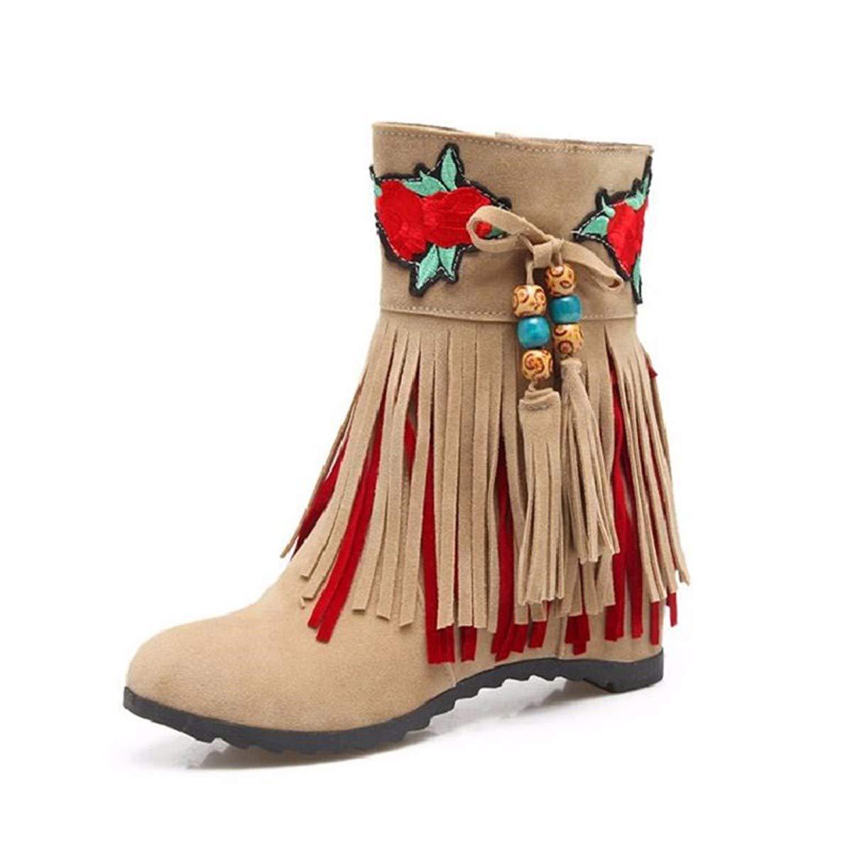KPHY Damenschuhe Mit Hohen Freund Hohe Stiefel Mit Fransen Modischen Seite Reißverschluss Kurze Stiefel Süß Nahen Betuchte Damenschuhe.