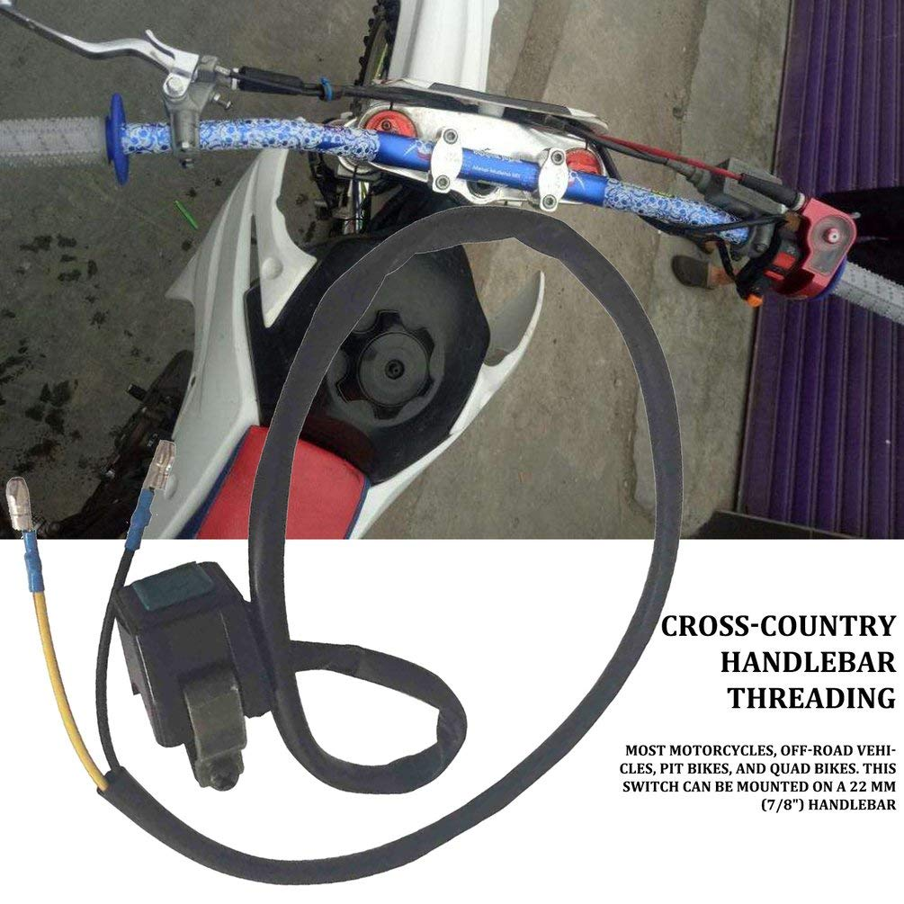 Hehilark 22mm Universel Moto Guidon Moteur D/émarrage Corne Moto Kill Bouton-Poussoir Commutateur Simple /À Installer