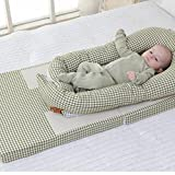 Aik@ Portable Multifunctional Cribs,Foldable Co-Sleeping Travel Bed Baby Bed Breathable Fiber Toddler Nest Hypoallergenic Soft Suitable for 0-1year Baby-A