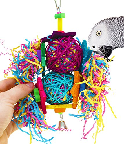 Bonka Bird Toys 1853 Duo Foraging Star Bird Toy Parrot cage Toys Cages Cockatiel African Grey (Duo Foraging Star) -