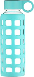 Origin Best BPA-Free Borosilicate Glass Water Bottle with Protective Silicone Sleeve and Leak Proof Lid - Dishwasher Safe (Turquoise, 12 Oz)