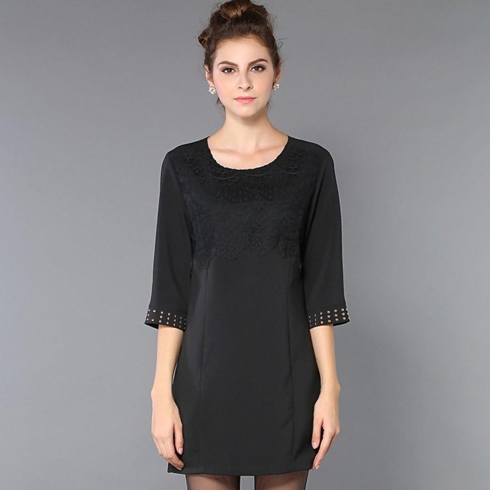 Kafeimali Womens New European Round Neck Half Sleeve Rivet Black Dresses