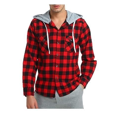Camisa de Manga Larga a Cuadros con Estampado de Cuadros Chaqueta de Sudadera para Hombres Chaqueta