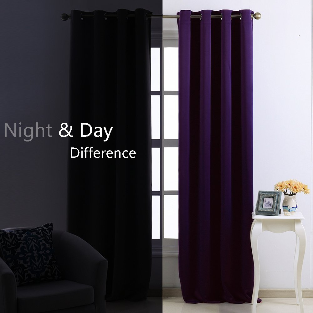 Blackout Drape Window Curtain Short Deep Purple Color