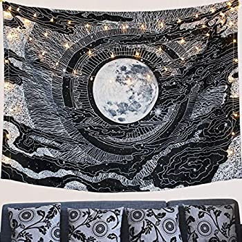 LHHZ-U Moon and Star Tapestry Wall Hanging Tapestries Black & White Wall Blanket Wall Art for Living Room Bedroom Home Decor (Black.)