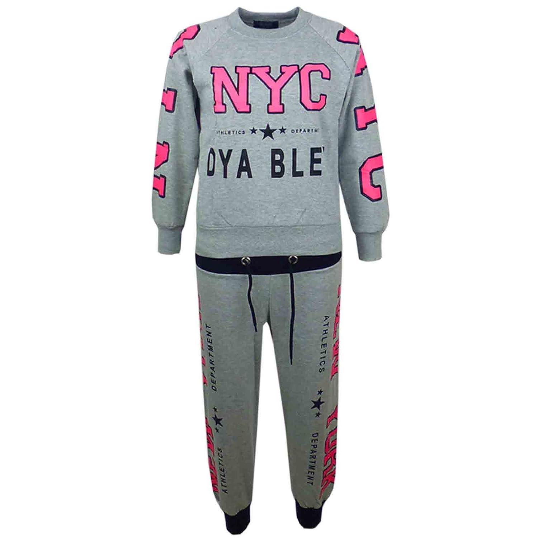 d9225c85 Kids Girls Tracksuit NYC New York Stylish Jog Suit Hoodie Bottom Jacket  Joggers Age 7-13 Years
