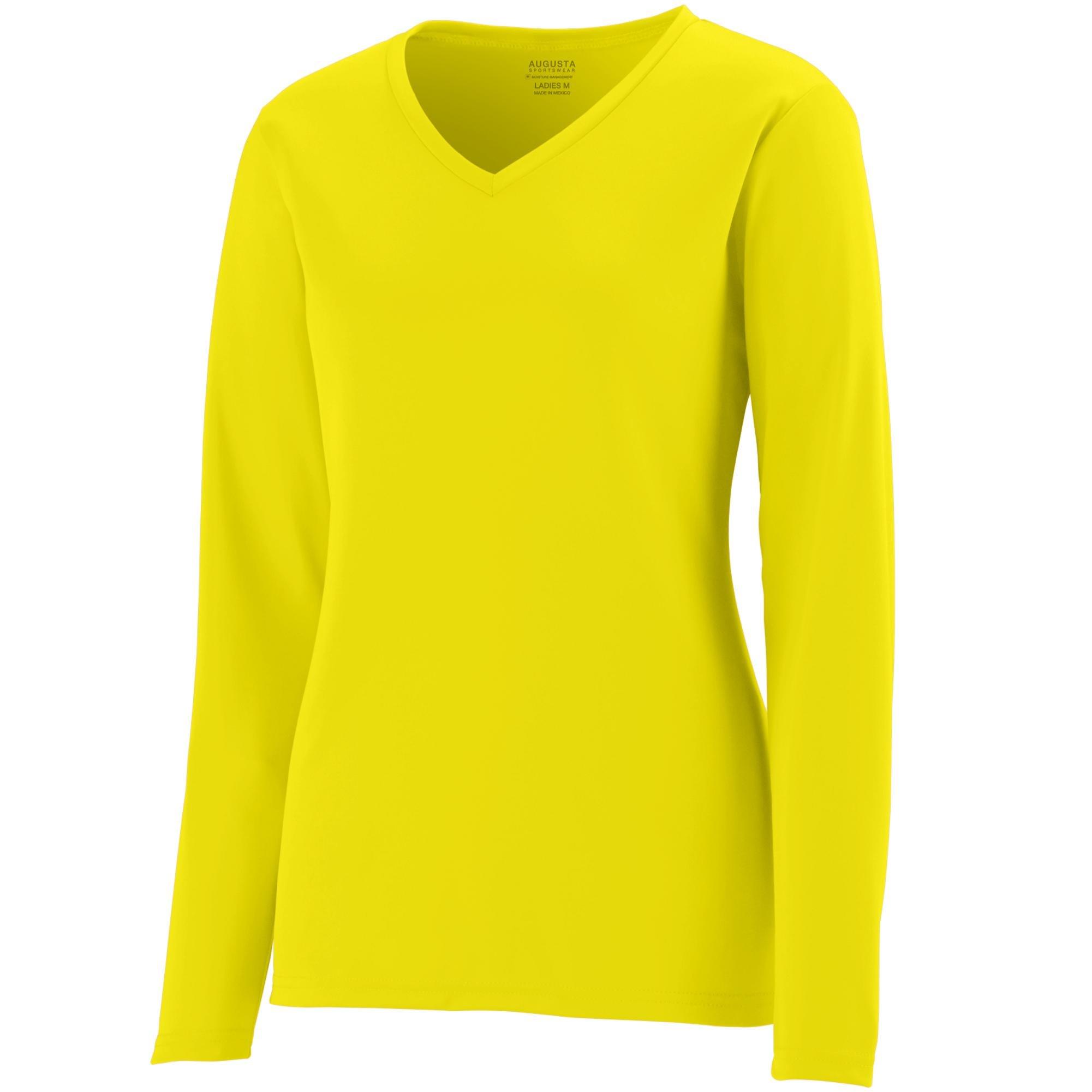 Augusta Sportswear Womens Long Sleeve Wicking T-Shirt, Power Yellow, 3X-Large