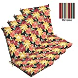 Comfort Classics Inc. Set of 4 Outdoor Dining Chair Cushions 20''x 44''x 3.5''T; H-24 in Polyester Fabric Ruby Abella Floral by