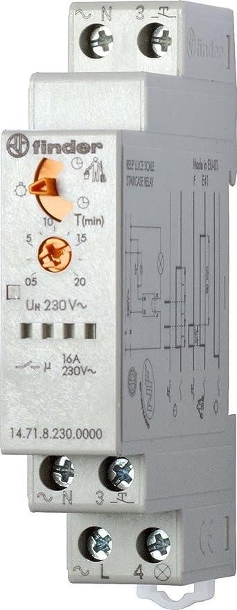 Schema Elettrico Per Temporizzatore : Finder 147182300000pas temporizzatore luce scale 1 contatto 16 a