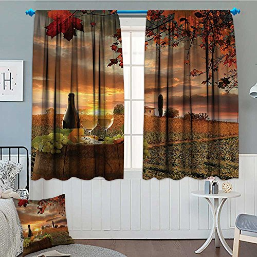 """Strongger Winery Decor Collection Patterned Drape for Glass Door White Wine with Barrel on Vineyard at Sunset in Chianti Tuscany Italy Landscape Print Waterproof Window Curtain 52""""x63"""" Orange Green"""