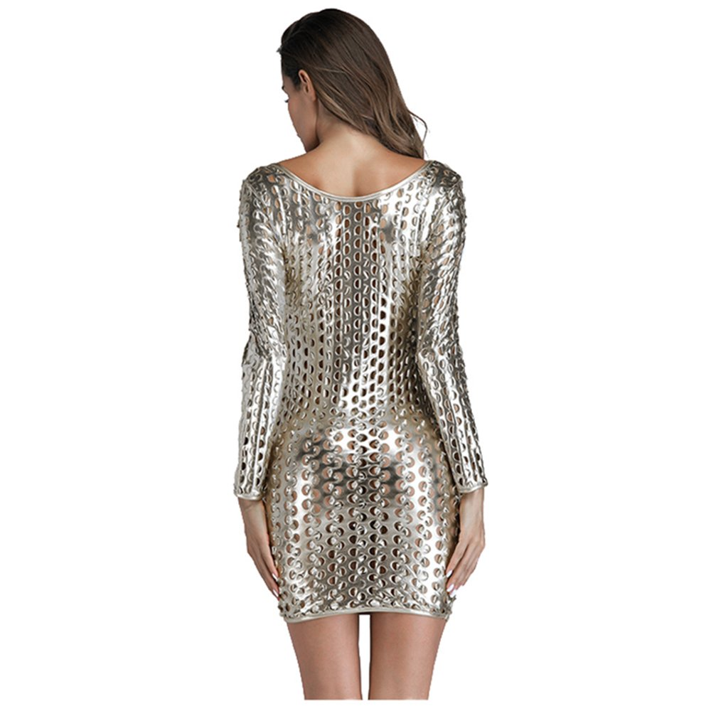 Wonder-Beauty Womens Metallic Clubwear Hollow Out Long Sleeve Mini Dress with Cut-Outs