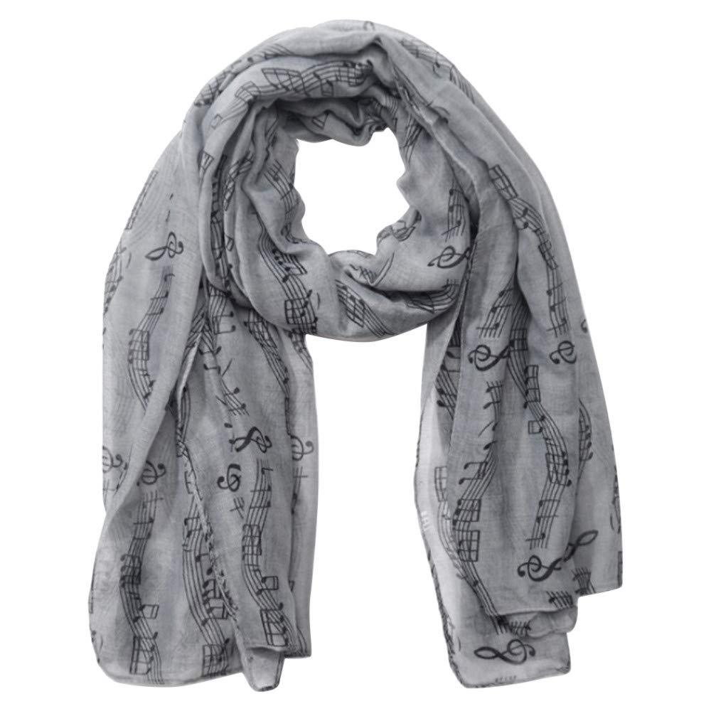 Jonecal Women Fashion Neckerchief Scarf Music Printed Silk Scarf Shawl (Gray)