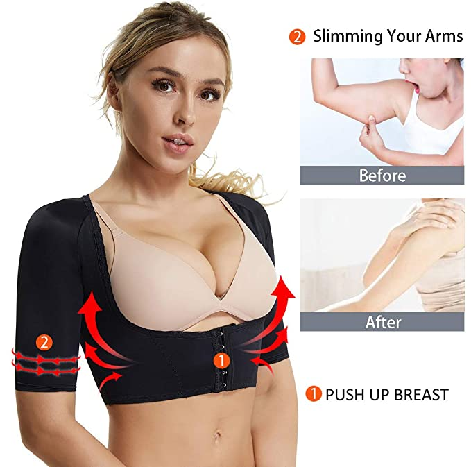 e784c69d61edb Slimming Upper Arm Compression Sleeves for Women Body Shaper Posture  Corrector Crop Top at Amazon Women s Clothing store