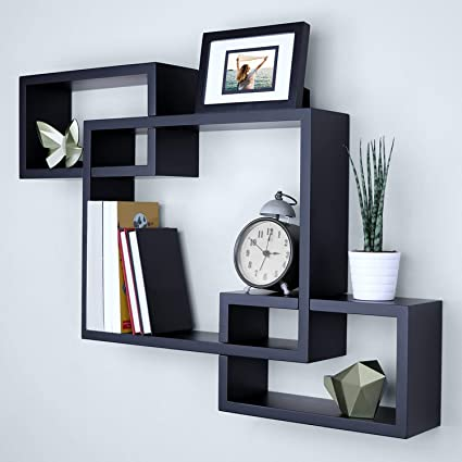 Kundi Intersecting Floating Shelves 4 Cube Square Wall Mounted Shelves Wood Home Furniture Accent Decorative Wall Shelf Black 47 Cm X 10 Cm X 65 Cm Black Modern9 Amazon In Electronics