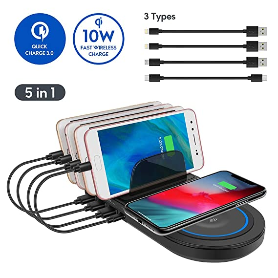 Charging Station with QC 3.0 Quick Charge,ayepow Multiple Phone Dock Stand with 10W QI Wireless Charging Pad&4 USB Ports,Charging Docking Stand ...