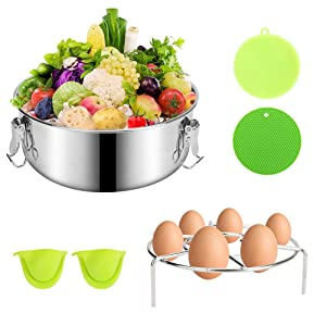 Flan Mold, BicycleStore 5 Pcs Stainless Steel Pressure Cooker Steamer Set with Lid and Easy Lift Handle Pan Molds Pot Accessories Set with Silicone Pad and 2 Oven Mitts for 6 Quart Pot Steamer