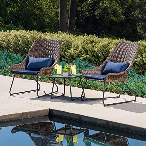 Hanover 3-Piece Wicker Chat Set with Navy Blue Cushions (Outdoor Patio Chat Set)