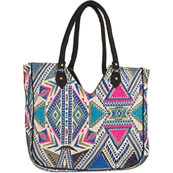 fa49483ffa0e Woven Women Tote Blue Large Shoulder Bag Beach Summer Fashion Spring School  Every day Floral Geometric