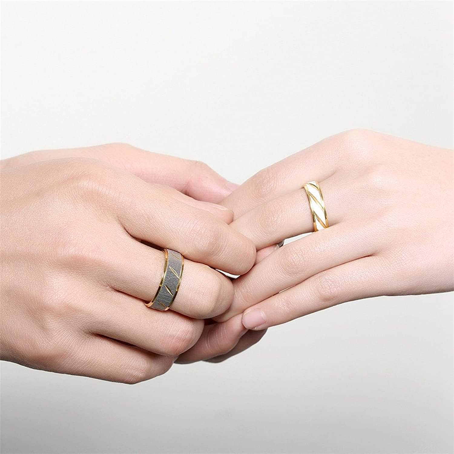 IVYRISE Stainless Steel Couple Rings Two Tone Diagonal Striped Gold ...