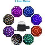 Disco Ball Party Lights Sound Activated LED Strobe Light DJ Stage Effects Lighting Mini Crystal Magic Rotating Ball 5W 7 Colors with Remote