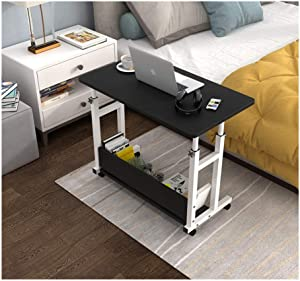 Mostbest Adjustable Mobile Computer Desk Lazy Bedside Laptop Tray, Computer Desk Food Standing Table with Wheel, Home Office Removable Rack for Bedroom Sofa (L: 31.5×15.7in, Black)