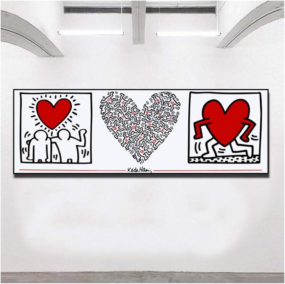 XIXISA Art Keith Haring peinture abstraite Affiches et Impressions cr/éatives minimaliste mur Art Toile Photos Pour Salon Chambre 50x50 cm sans Cadre